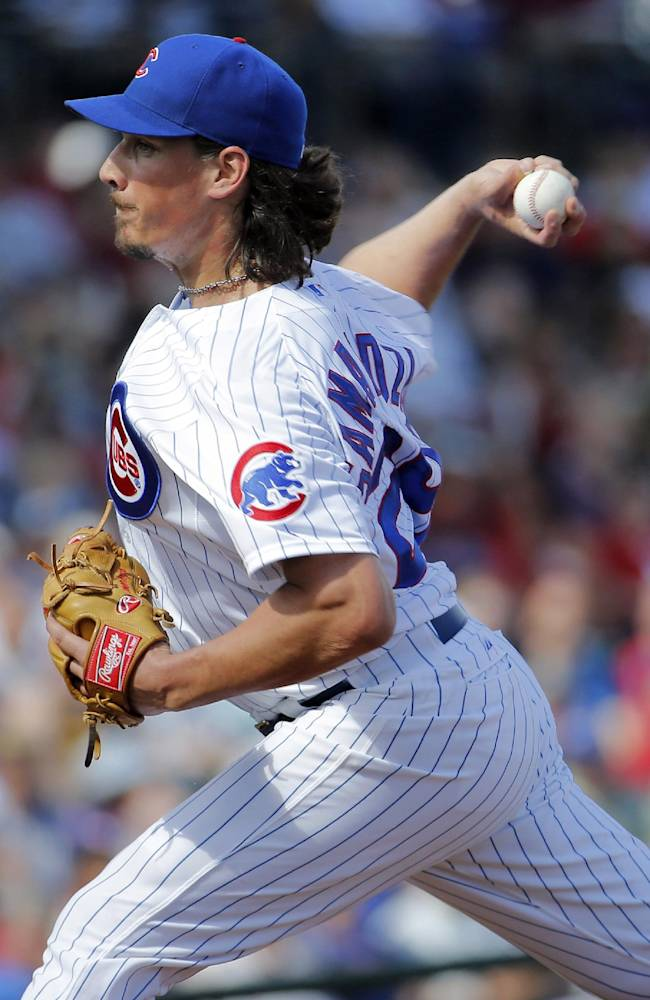 Chicago Cubs pitcher Jeff Samardzija throws during the first inning of a spring training baseball game against the Arizona Diamondbacks, Thursday, Feb. 27, 2014, in Mesa, Ariz