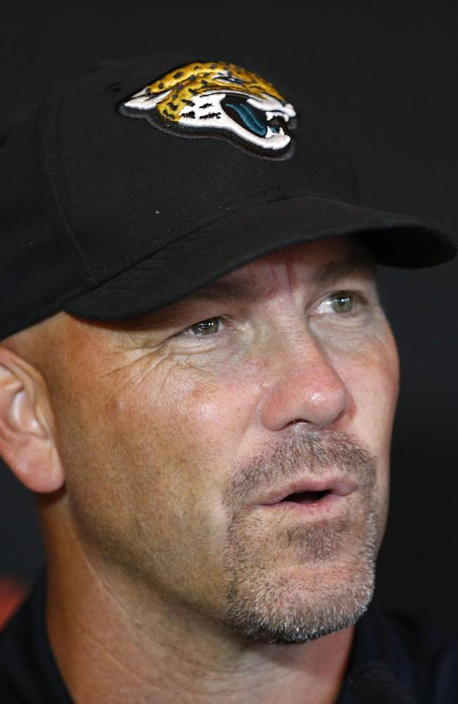 Jacksonville Jaguars' head coach Gus Bradley speaks to the media during a press conference at the Pennyhill Park Hotel and Spa in Bagshot, England, Wednesday, Oct. 23, 2013. Jaguars play San Francisco 49ers on Sunday in a NFL football game at Wembley Stadium in London