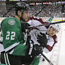 Colorado Avalanche left wing Gabriel Landeskog (92) and Dallas Stars center Colton Sceviour (22) crash into the boards during the first period of an NHL hockey game Tuesday, Feb. 3, 2015, in Dallas The Associated Press