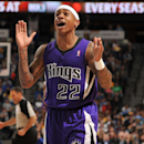 Isaiah Thomas #22 of the Sacramento Kings celebrates on the court against the Denver Nuggets on February 23, 2014 at the Pepsi Center in Denver, Colorado. (Photo by Garrett W. Ellwood/NBAE via Getty Images)