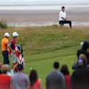 Rory McIlroy of Northern Ireland plays onto the 14th green during the final round of the British Open Golf championship at the Royal Liverpool golf club, Hoylake, England, Sunday July 20, 2014