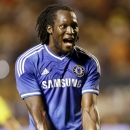 Chelsea forward Romelu Lukaku celebrates a goal during the first half of the International Champions Cup final soccer game against Real Madrid, Wednesday, Aug. 7, 2013, in Miami Gardens, Fla. (AP Photo/J Pat Carter)