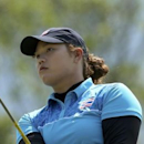 Ariya Jutanugarn (THA) of Thailand watches her tee shot on the 14th hole during second round women's Olympic golf competition.    REUTERS/Kevin Lamarque