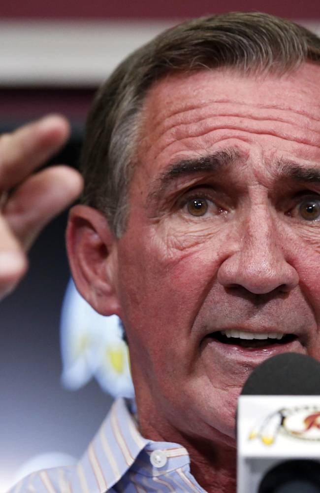 Washington Redskins head coach Mike Shanahan speaks during a media availability at their NFL football training facility, Wednesday, Dec. 11, 2013, in Ashburn, Va. Kirk Cousins will start for the Redskins on Sunday, and Robert Griffin III will be the No. 3 quarterback behind Rex Grossman. Shanahan went ahead with his plan to sit Griffin, further stoking the turmoil surrounding the future of the coach