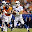 Indianapolis Colts quarterback Andrew Luck (12) looks to throw against the Denver Broncos during the second half of an NFL football game, Sunday, Sept. 7, 2014, in Denver The Associated Press