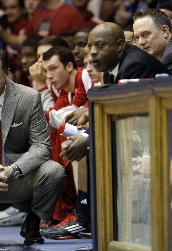 North Carolina State coach Mark Gottfried watches during the second half of an NCAA college basketball game against Duke in Durham, N.C., Saturday, Jan. 18, 2014. Duke won 95-60