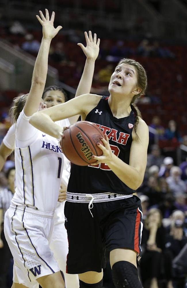 Utah's Emily Potter, right, drives against Washington in the first half of an NCAA college basketball game in the Pac-12 women's tournament Thursday, March 6, 2014, in Seattle