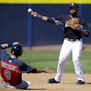 Seattle Mariners' Robinson Cano throws to first for the double play after forcing Cleveland Indians' Lonnie Chisenhall (8) in the fourth inning of a spring training baseball game, Wednesday, March 5, 2014, in Peoria, Ariz. The Indians' Matt Carson was out