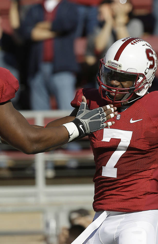 Montgomery's 5 scores pace Stanford's 63-13 win
