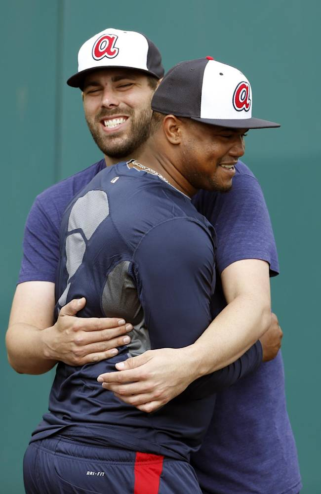 Atlanta Braves relief pitcher Jordan Walden, back, greets relief pitcher Juan Jaime during a spring training baseball workout, Thursday, Feb. 13, 2014, in Kissimmee, Fla