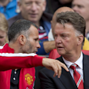 Manchester United's manager Louis van Gaal, right, takes his seat alongside assistant coach Ryan Giggs before the team's English Premier League soccer match against Swansea City at Old Trafford Stadium, Manchester, England, Saturday Aug. 16, 2014