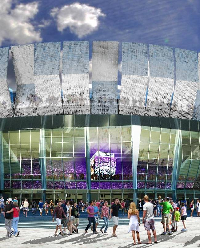 This undated artist rendering released by the Sacramento Kings shows an artists rendering of a downtown Sacramento arena they hope to open for the start of the 2016-17 NBA season. The renderings, released on Tuesday, Jan. 28, 2014, came after six months of workshops, open houses, town halls and focus groups. The Kings said a survey soliciting advice from the public yielded more than 20,000 responses