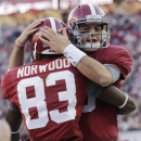 Alabama quarterback AJ McCarron (10) celebrates with receiver Kevin Norwood after throwing him a 7 yard touchdown pass during the first half of a NCAA college football game against Auburn at Bryant-Denny Stadium in Tuscaloosa, Ala., Saturday, Nov. 24, 2012. (AP Photo/Dave Martin)