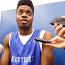 Kentucky freshman Nerlens Noel answers a reporter's question during NCAA college basketball media day at the Joe Kraft Center in Lexington, Ky., Thursday, Oct. 11, 2012. (AP Photo/ James Crisp)