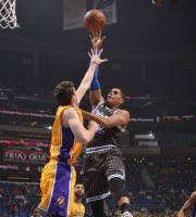 ORLANDO, FL - JANUARY 24: Tobias Harris #12 of the Orlando Magic shoots against the Los Angeles Lakers on January 24, 2014 at Amway Center in Orlando, Florida. (Photo by Fernando Medina/NBAE via Getty Images)