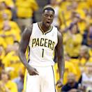 INDIANAPOLIS, IN - MAY 18:  Lance Stephenson #1 of the Indiana Pacers celebrates in the game against the New York Knicks during Game Six of the Eastern Conference Semifinals of the 2013 NBA Playoffs at Bankers Life Fieldhouse on May 18, 2013 in Indianapolis, Indiana. NOTE TO USER: User expressly acknowledges and agrees that, by downloading and or using this photograph, User is consenting to the terms and conditions of the Getty Images License Agreement.  (Photo by Andy Lyons/Getty Images)