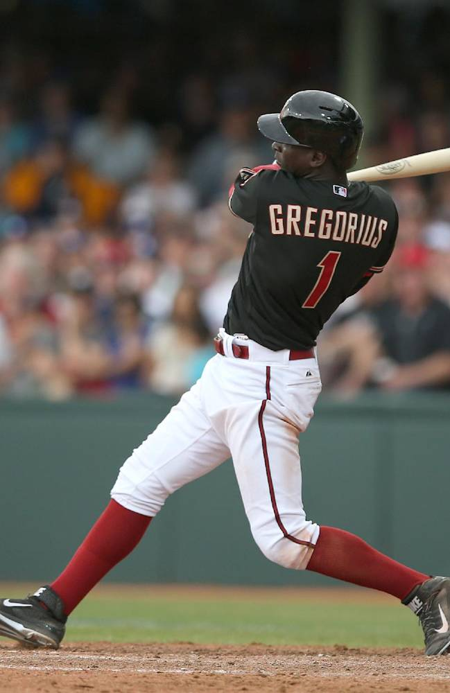 Arizona Diamondbacks' Didi Gregorius bats during the second game of the two-game Major League Baseball opening series between the Los Angeles Dodgers and Arizona Diamondbacks at the Sydney Cricket ground in Sydney, Sunday, March 23, 2014