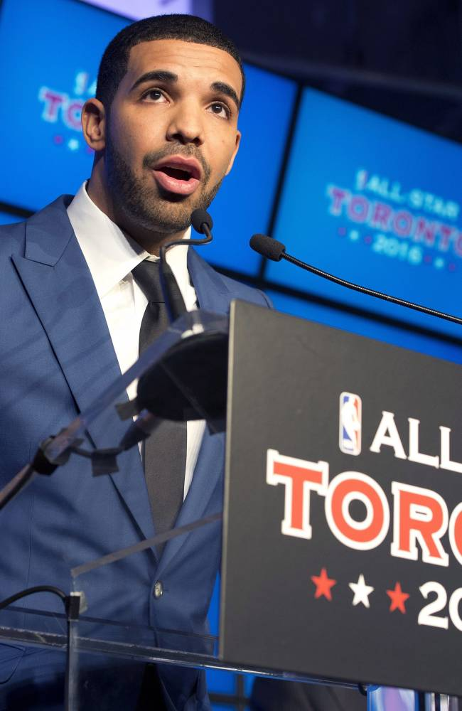 Canadian recording artist Drake speaks at a news conference after the announcement that the Toronto Raptors will host the 2016 NBA All Star game at a news conference in Toronto on Monday Sept. 30, 2013