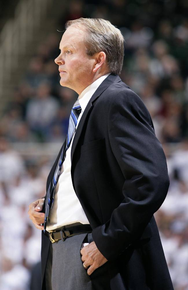 Grand Valley State coach Ric Wesley watches during the first half of an NCAA college basketball exhibition game against Michigan State, Tuesday, Oct. 29, 2013, in East Lansing, Mich. Michigan State won 101-52
