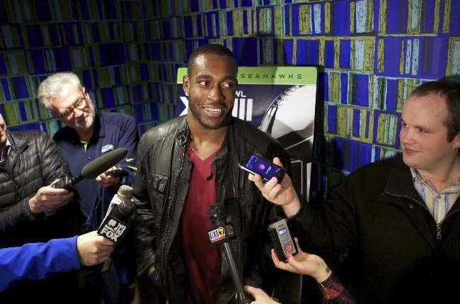 Seattle Seahawks safety Kam Chancellor answers questions before the premiere of NFL Films'