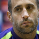 Manchester City's Pablo Zabaleta listens during a news conference ahead of Tuesday's Group E Champions League match between CSKA Moscow and Manchester City, Moscow, Russia, Monday, Oct. 20, 2014