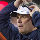 Illinois head coach Tim Beckman reacts to a call on the field during the second half of an NCAA college football game, Saturday, Nov. 9, 2013, in Bloomington, Ind. Indiana defeated Illinois 52-35. (AP Photo/Doug McSchooler)