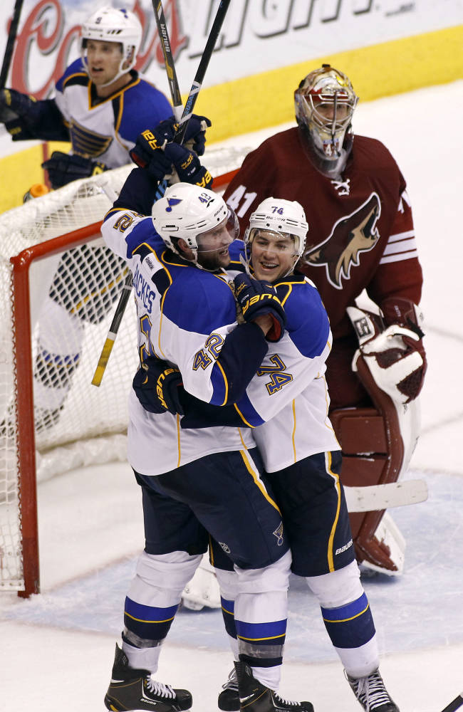 St Louis Blues' David Backes (42) and T.J. Oshie (74) celebrate in front of Phoenix Coyotes goaltender Mike Smith (41) after a goal by Blues' teammate Kevin Shattenkirk, not pictured, during the third period of an NHL hockey game, Sunday, March 2, 2014, in Glendale, Ariz. The Blues defeated the Coyotes 4-2
