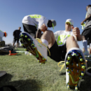 Green Bay Packers' Jordy Nelson laces up his cleats during a practice session at Luke Air Force Base for the NFL Football Pro Bowl Thursday, Jan. 22, 2015, in Glendale, Ariz The Associated Press