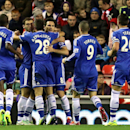 Chelsea's Frank Lampard, center, celebrates his goal with his teammates during their English Premier League soccer match against Sunderland at the Stadium of Light, Sunderland, England, Wednesday, Dec. 4, 2013