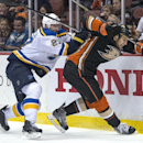 In this Sunday, Oct. 19, 2014, photo, Anahein Ducks' Ryan Getzlaf, right, and the St. Louis Blues' Alex Pietrangelo collide during an NHL hockey game in Anahein, Calif The Associated Press