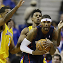 Los Angeles Lakers forward Shawne Williams (3) and forward Nick Young defend Detroit Pistons forward Josh Smith, right, during the second quarter of an NBA basketball game at the Palace in Auburn Hills, Mich., Friday, Nov. 29, 2013 The Associated Press