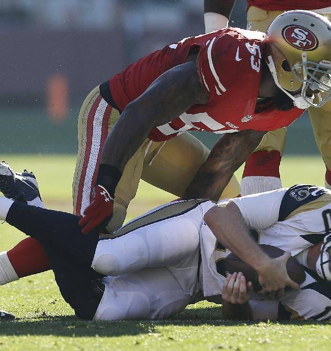 San Francisco 49ers linebacker NaVorro Bowman (53) stands up after sacking St. Louis Rams quarterback Kellen Clemens (10) during the second quarter of an NFL football game in San Francisco, Sunday, Dec. 1, 2013