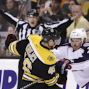 Boston Bruins center David Krejci (46) and Columbus Blue Jackets defenseman James Wisniewski (21) tangle during the second period of an NHL hockey game, in Boston, Thursday, Nov. 14, 2013 The Associated Press