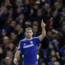 Chelsea's Branislav Ivanovic celebrates scoring during the English League Cup semifinal second leg soccer match between Chelsea and Liverpool at Stamford Bridge stadium in London, Tuesday, Jan. 27, 2015