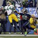 Green Bay Packers' James Starks (44) can't catch a pass in front of Seattle Seahawks' K.J. Wright (50) during the second half of the NFL football NFC Championship game Sunday, Jan. 18, 2015, in Seattle The Associated Press