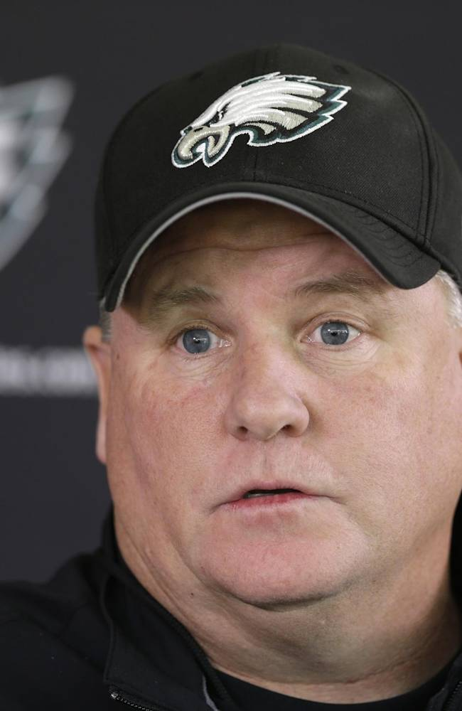 Philadelphia Eagles head coach Chip Kelly speaks during a news conference ahead of practice at the NFL football team's training facility, Wednesday, Nov. 6, 2013, in Philadelphia