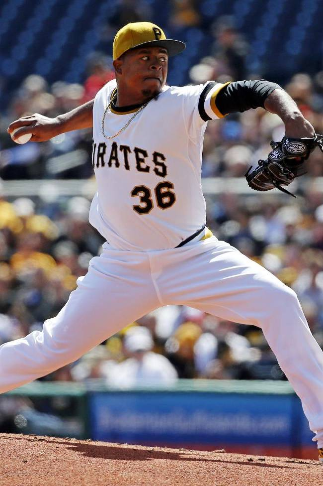 Pittsburgh Pirates starting pitcher Edinson Volquez delivers during the third inning of a baseball game against the St. Louis Cardinals in Pittsburgh, Sunday, April 6, 2014