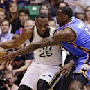 Oklahoma City Thunder's Kendrick Perkins (5) guards Utah Jazz's Al Jefferson (25) in the first quarter during an NBA basketball game, Tuesday, April 9, 2013, in Salt Lake City. (AP Photo/Rick Bowmer)