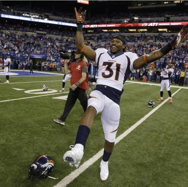 Denver Broncos' Omar Bolden (31) warms up before an NFL football game against the Indianapolis Colts, Sunday, Oct. 20, 2013, in Indianapolis