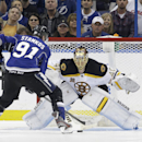 Boston Bruins goalie Tuukka Rask (40), of Finland, stops Tampa Bay Lightning center Steven Stamkos (91) in a shoot out during an NHL hockey game Saturday, March 8, 2014, in Tampa, Fla. The Bruins won the game 4-3 The Associated Press