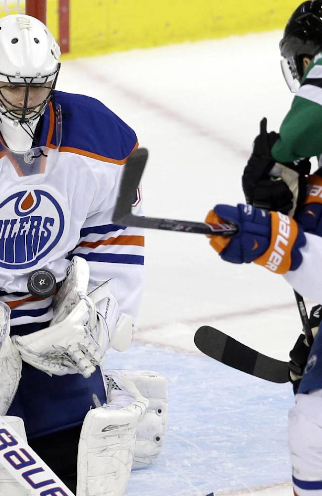 Oilers' Dubnyk earns SO win over Stars in relief