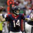 Houston's Ryan Fitzpatrick (14) throws against the Buffalo Bills during the first quarter of an NFL football game, Sunday, Sept. 28, 2014, in Houston. The Associated Press