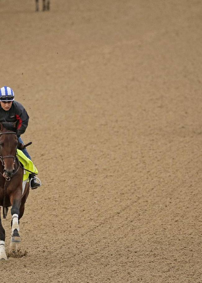 Exercise rider Faustino Aguilar takes Kentucky Derby hopeful Medal Count for a morning workout at Churchill Downs Wednesday, April 30, 2014, in Louisville, Ky