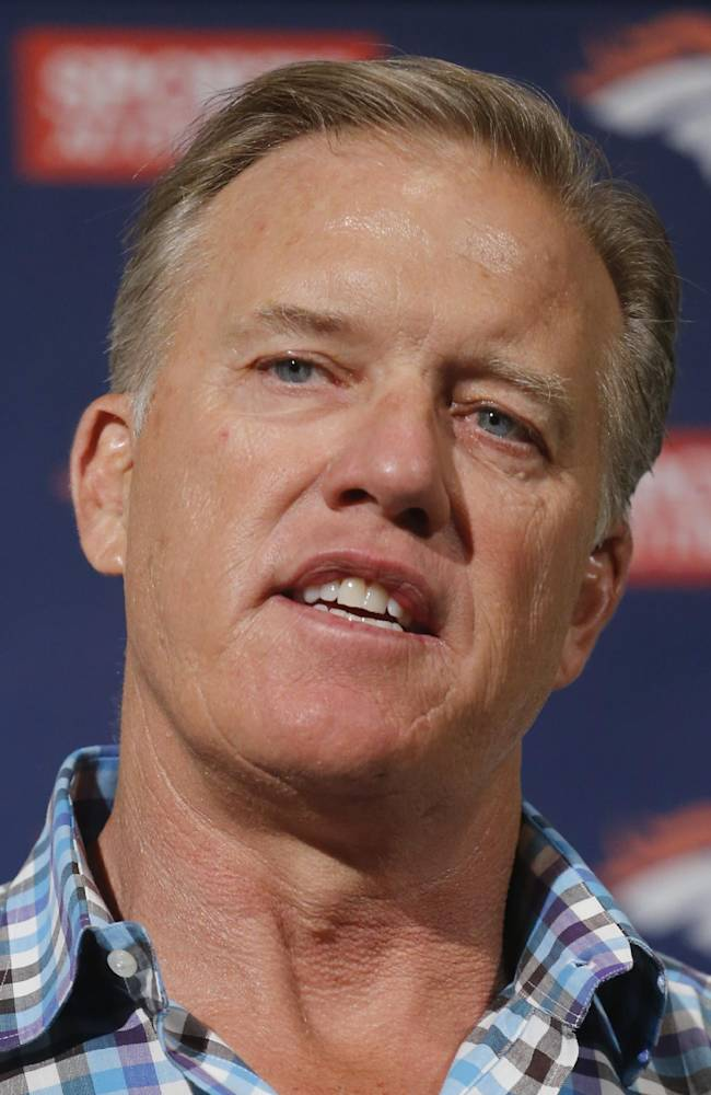 Denver Broncos vice president John Elway talks about this weeks NFL football draft during a news conference at the team's headquarters in Englewood, Colo., on Monday, May 5, 2014