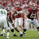 Alabama quarterback AJ McCarron (10) looks for a receiver as Colorado State linebacker Shaquil Barrett (56) defends during the first half of an NCAA college football game in Tuscaloosa, Ala., Saturday, Sept. 21, 2013. (AP Photo/Dave Martin)