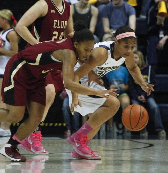 Chattanooga guard Tatianna Jackson, right, and Elon guard Lauren Brown dive for a loose ball during the first half of an NCAA college basketball game on Friday, Feb. 28, 2014, in Chattanooga, Tenn