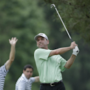 Kevin Sutherland tees off on the eighth hole during the first round of the U.S. Open golf tournament at Merion Golf Club, Thursday, June 13, 2013, in Ardmore, Pa. (AP Photo/Julio Cortez)