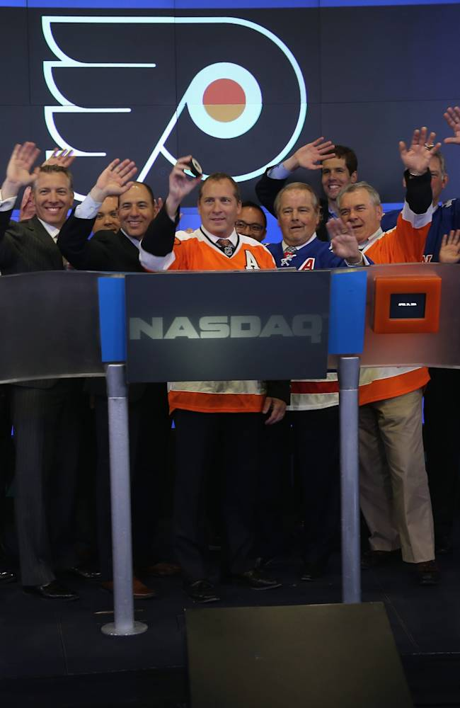 Philadelphia Flyers and New York Rangers Ring Closing Bell Of Nasdaq Exchange