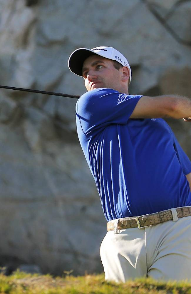 Brendon Todd hits from the 16th tee during the second round of the Humana Challenge PGA golf tournament on the Palmer Private course at PGA West, Friday, Jan. 17, 2014, in La Quinta, Calif