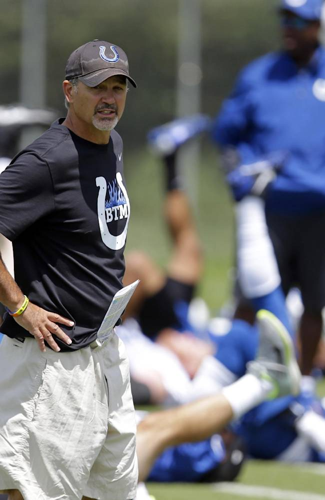 Indianapolis Colt ahead coach Chuck Pagano watch as his team warms up before the NFL team's football training camp in Anderson, Ind., Thursday, July 24, 2014.  (AP Photo)